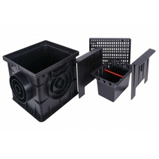 Дождеприемник с решеткой 300х300 чёрный Europlast (Комплект)
