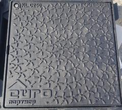 Люк квадратный канализационный чугунный 600х600 С250